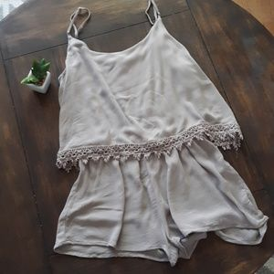 Forever 21 Flowy Lightweight Taupe Romper